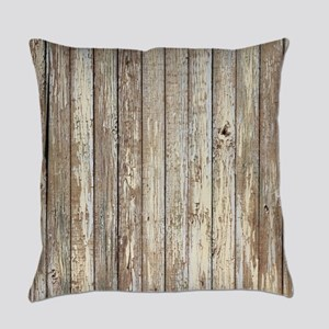 shabby chic white barn wood Everyday Pillow